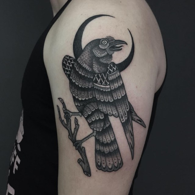 black and grey bird tattoo 06