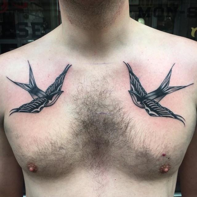 black and grey bird tattoo 16