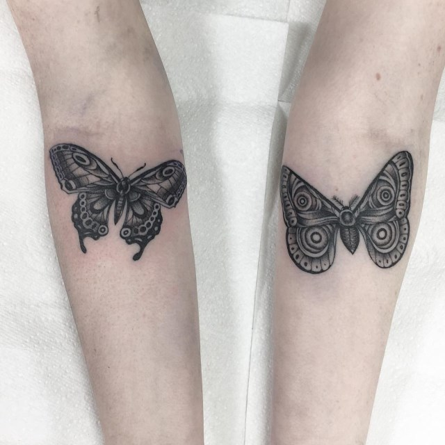 black and grey butterfly tattoo 2