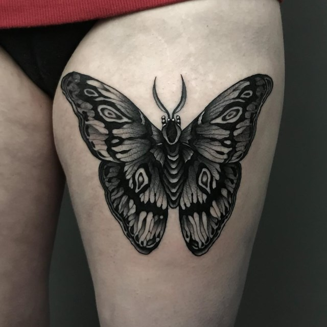 black and grey butterfly tattoo 5