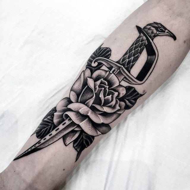 black and grey dagger tattoo 06