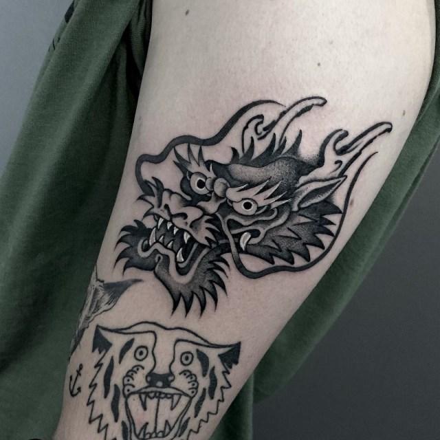 black and grey dragon tattoo 08