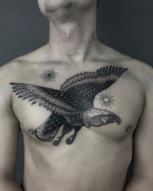 black and grey eagle tattoo 04