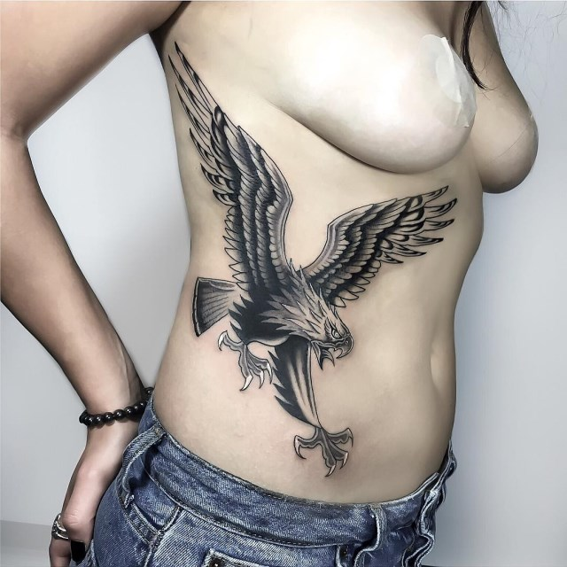 black and grey eagle tattoo 08