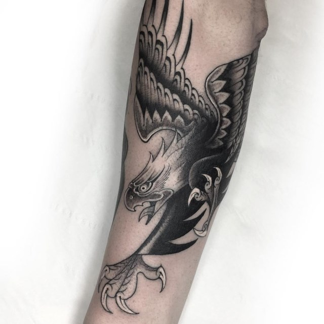 black and grey eagle tattoo 09