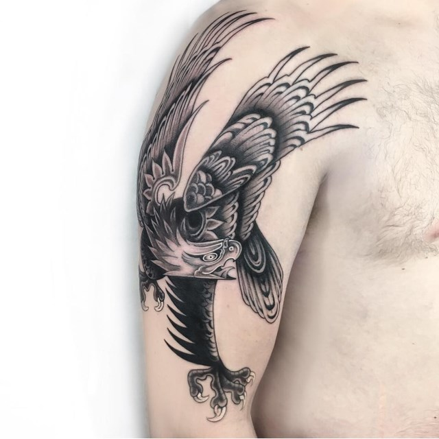 black and grey eagle tattoo 10