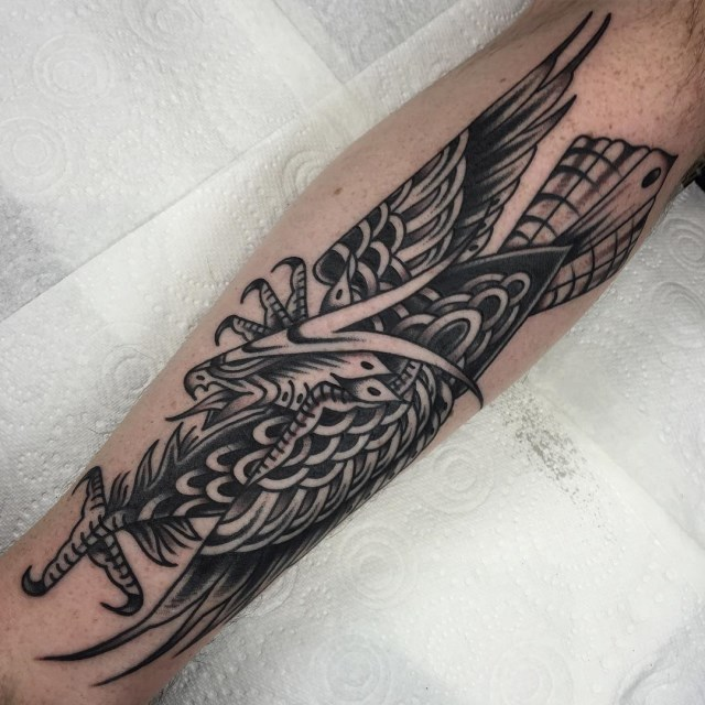 black and grey eagle tattoo 17