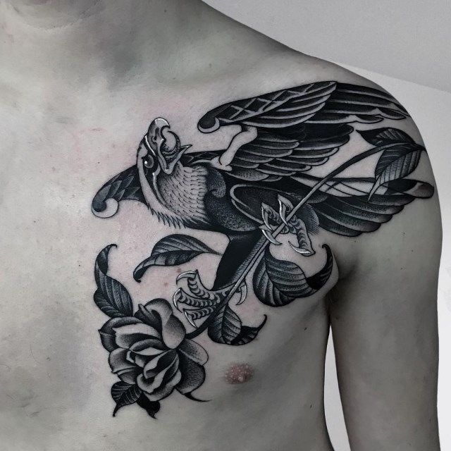 black and grey eagle tattoo 29