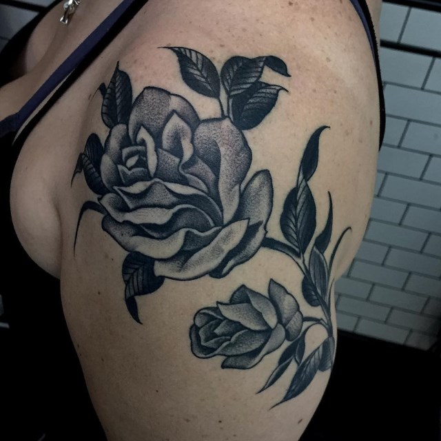 black and grey flower tattoo 09