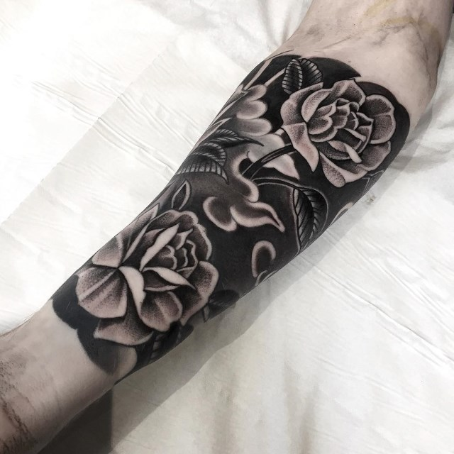 black and grey flower tattoo 12