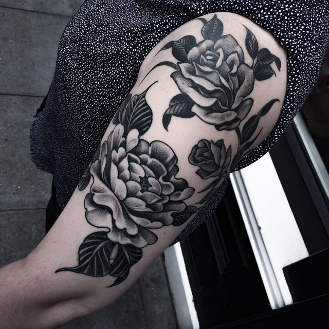 black and grey flower tattoo 17