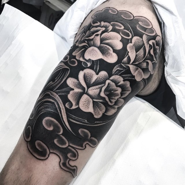 black and grey flower tattoo 18