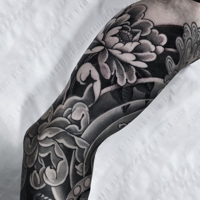 black and grey flower tattoo 21
