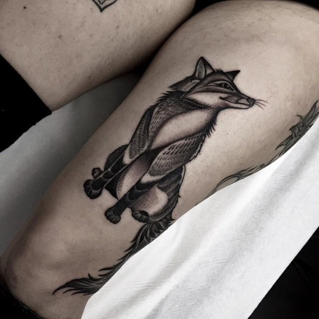 black and grey fox tattoo 3