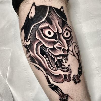 Black And Grey Hannya Tattoo