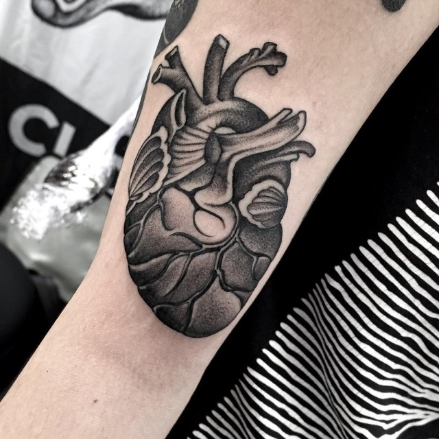 black and grey heart tattoo 2