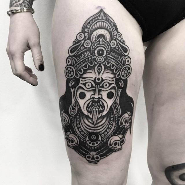 black and grey kali tattoo 1