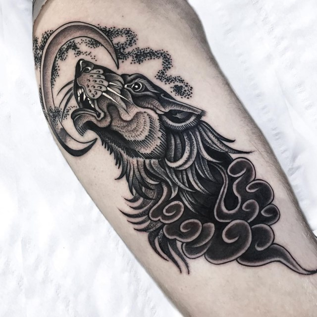 black and grey moon tattoo 6