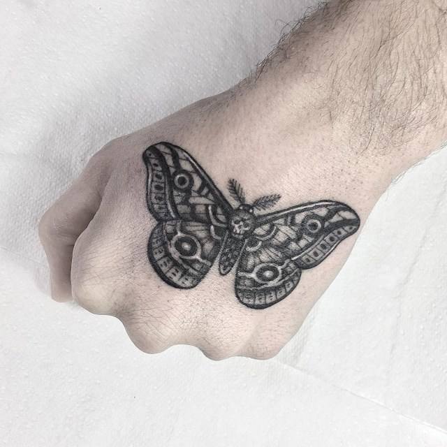 black and grey moth tattoo 03