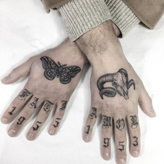 black and grey moth tattoo 06