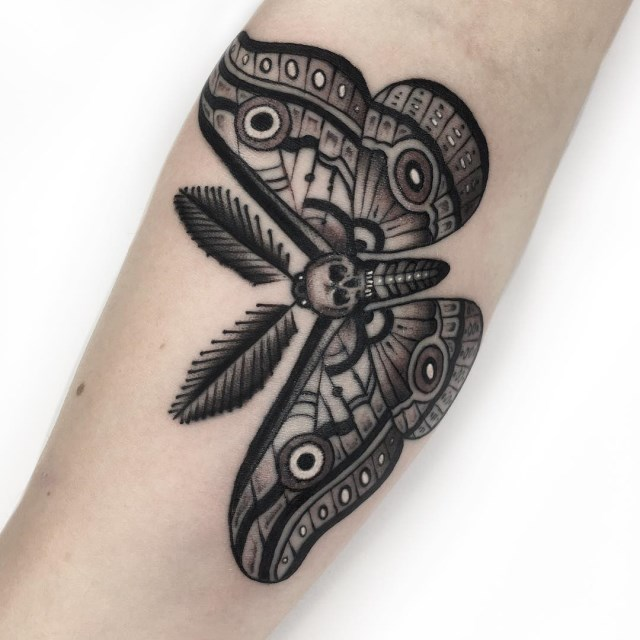 black and grey moth tattoo 07