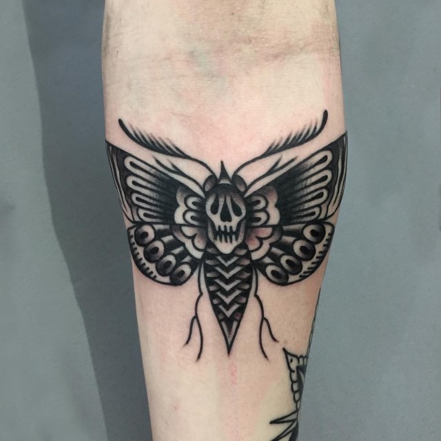 black and grey moth tattoo 08