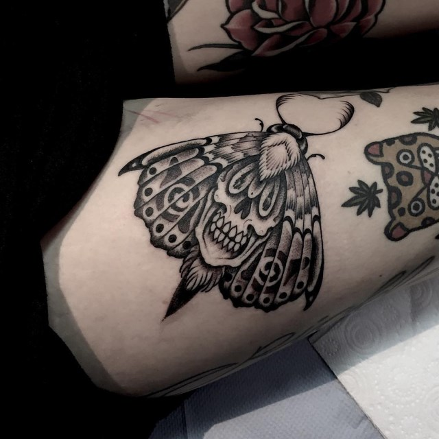 black and grey moth tattoo 10