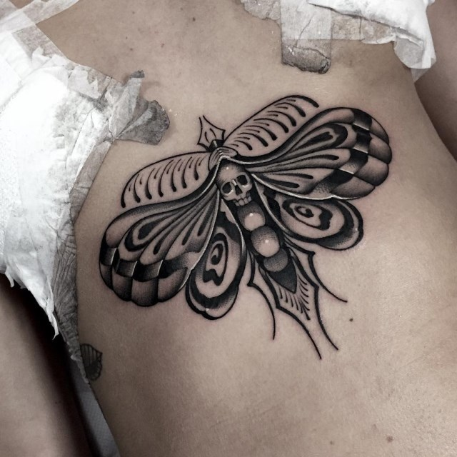 black and grey moth tattoo 11