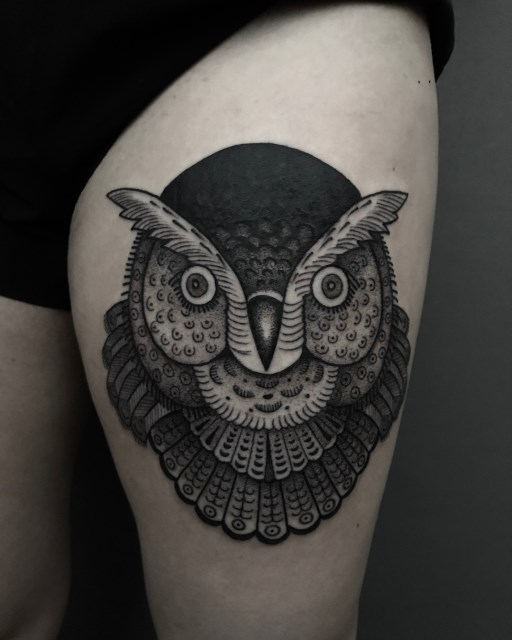 black and grey owl tattoo 2