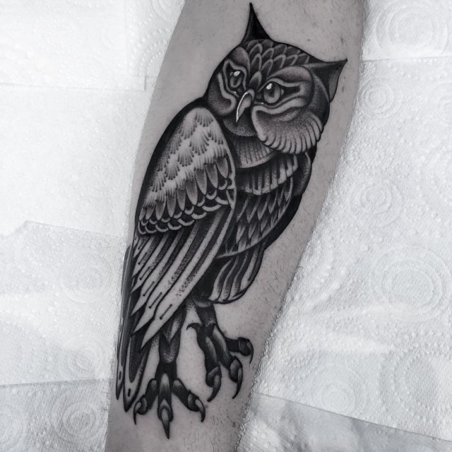 black and grey owl tattoo 4