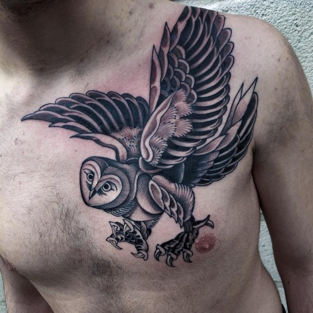 black and grey owl tattoo 5