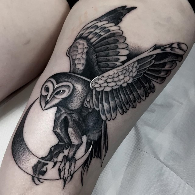 black and grey owl tattoo 7