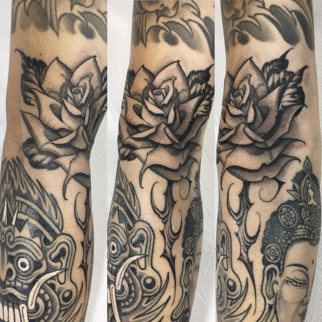 black and grey rose tattoo 08