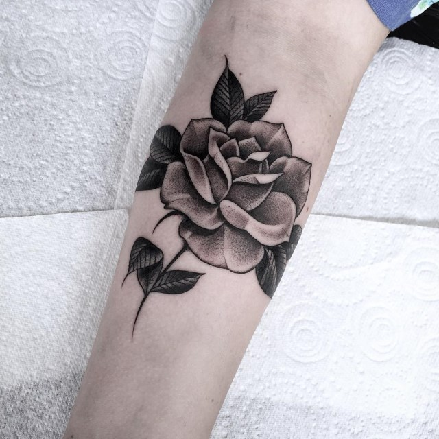 black and grey rose tattoo 12