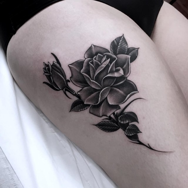 black and grey rose tattoo 13