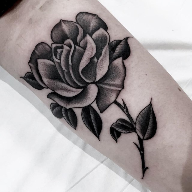 black and grey rose tattoo 17