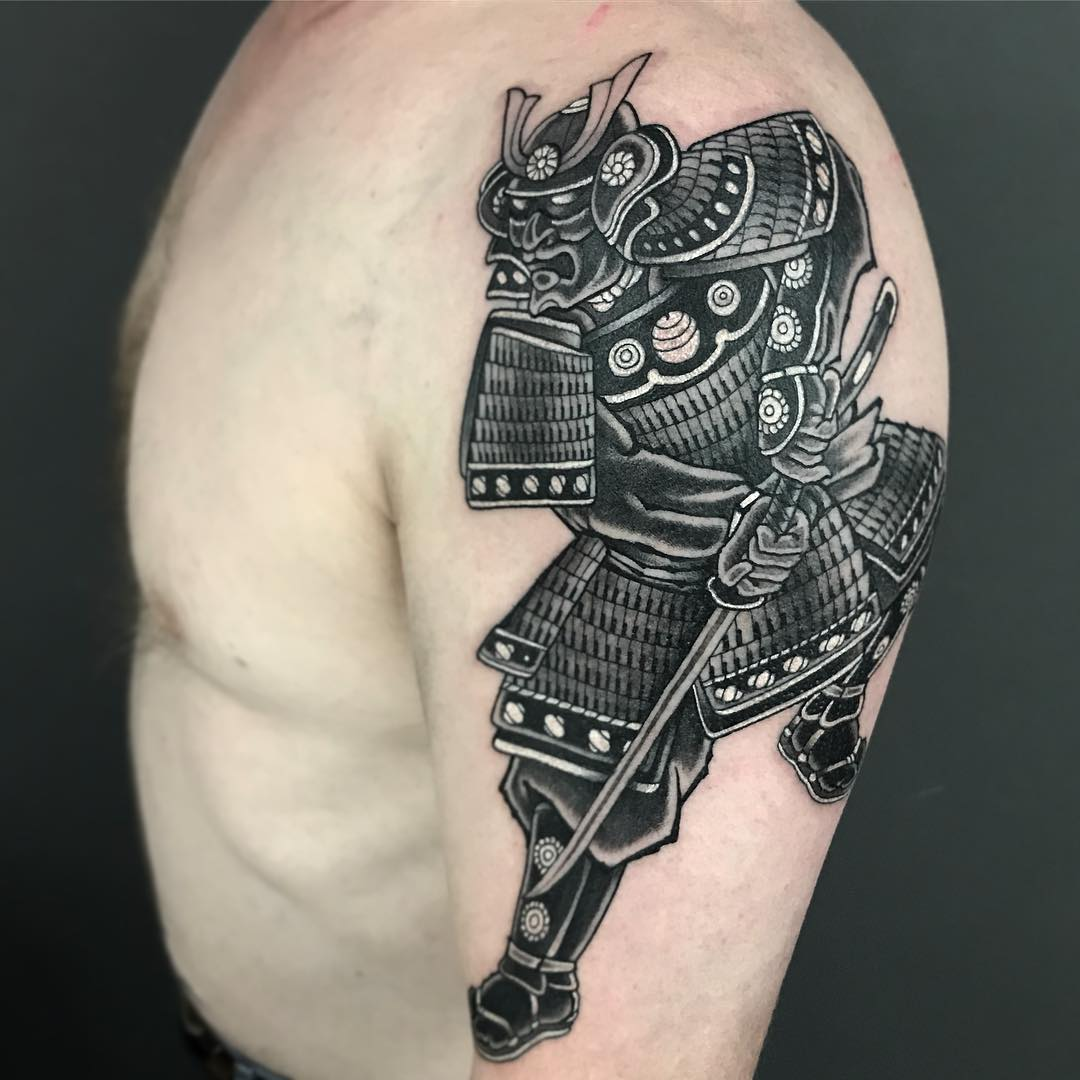 Black and Grey Samuari - Cloak and Dagger Tattoo Parlour London