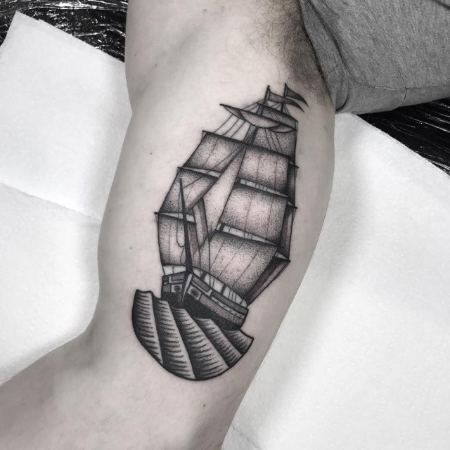 black and grey ship tattoo 03