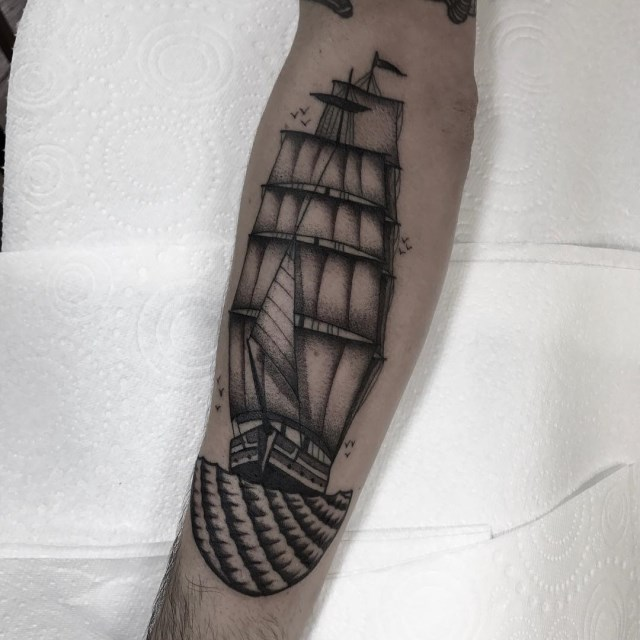 black and grey ship tattoo 04