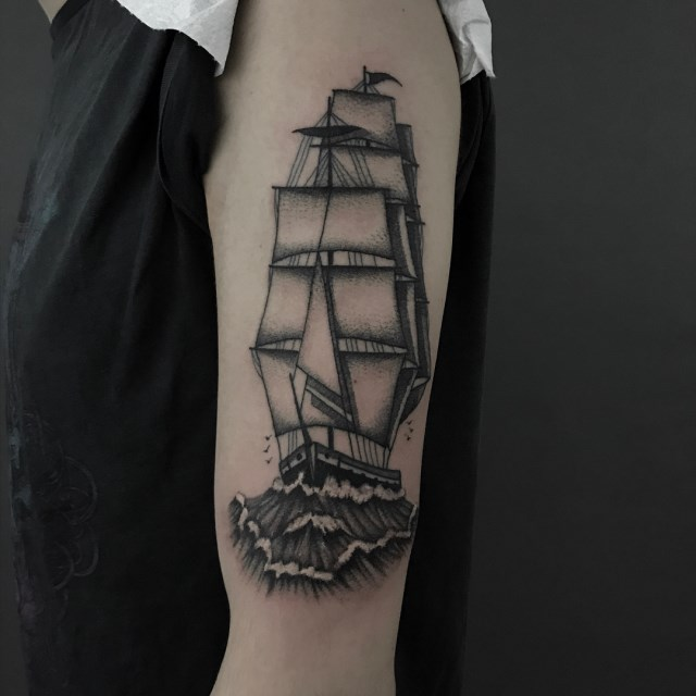black and grey ship tattoo 05