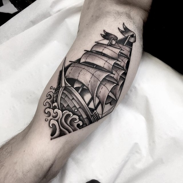 black and grey ship tattoo 07