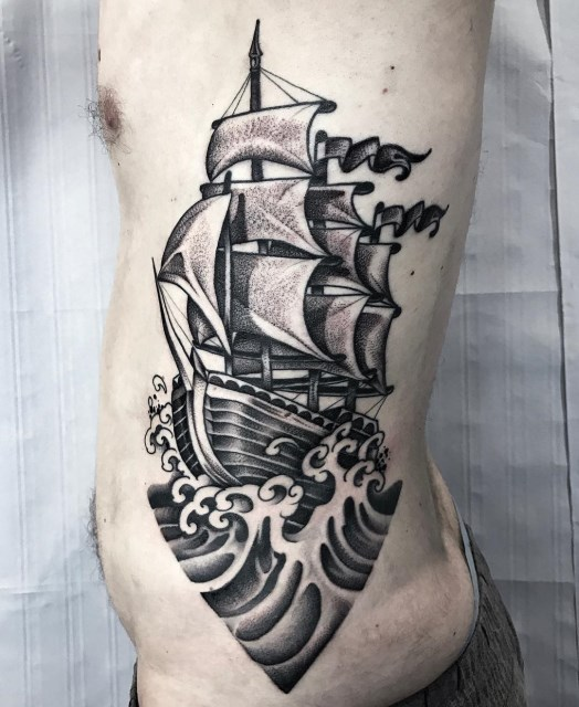 black and grey ship tattoo 09