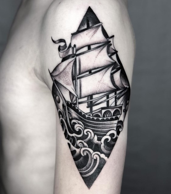 black and grey ship tattoo 10