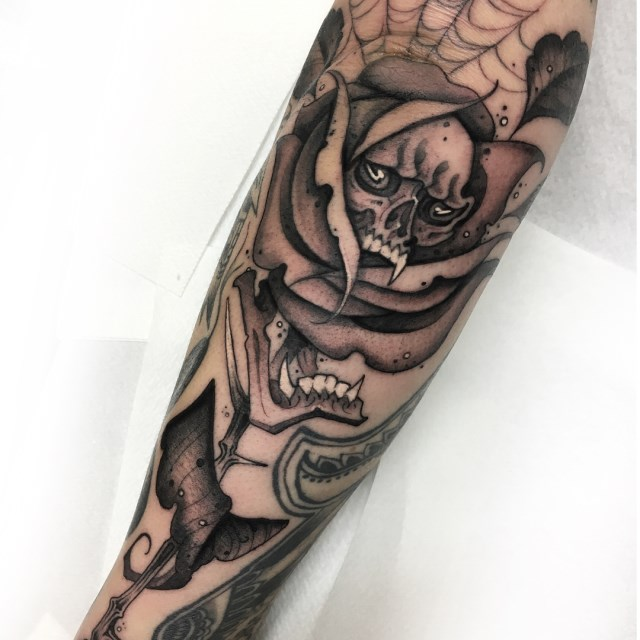 black and grey skull tattoo 13