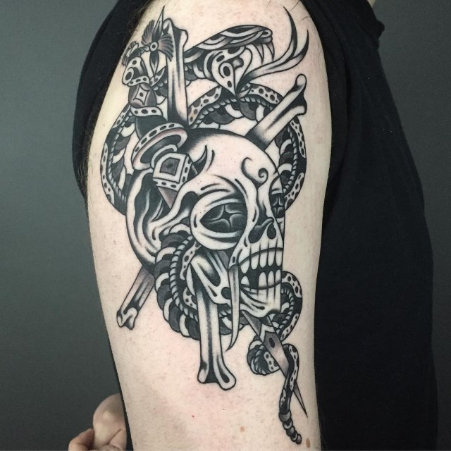 black and grey skull tattoo 23