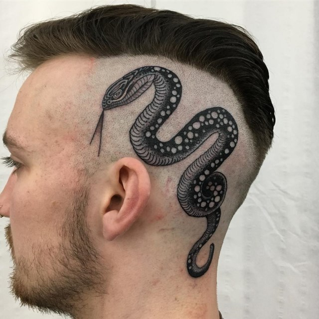 black and grey snake tattoo 06