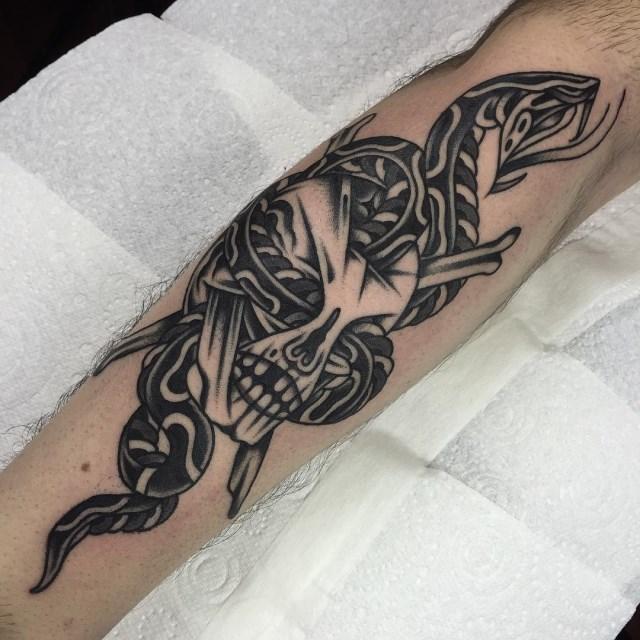 black and grey snake tattoo 11