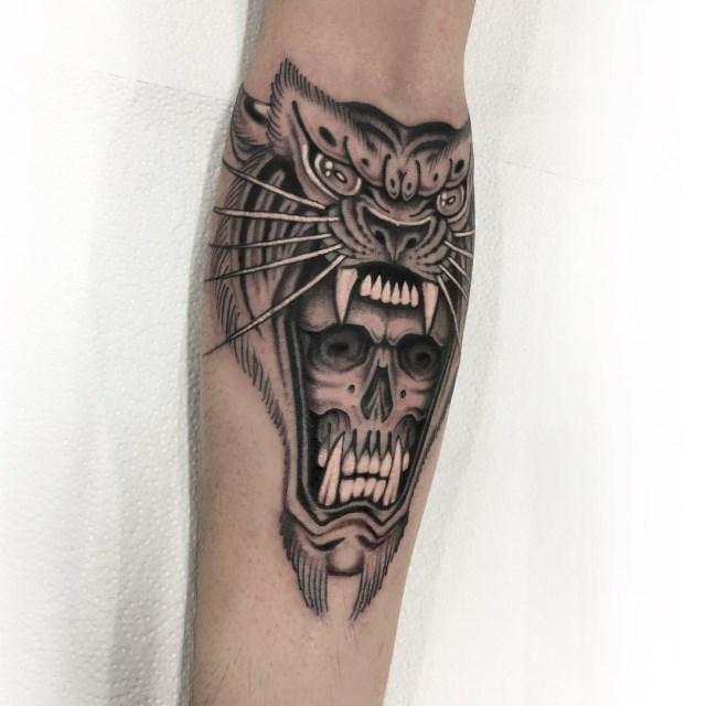 black and grey tiger tattoo 05
