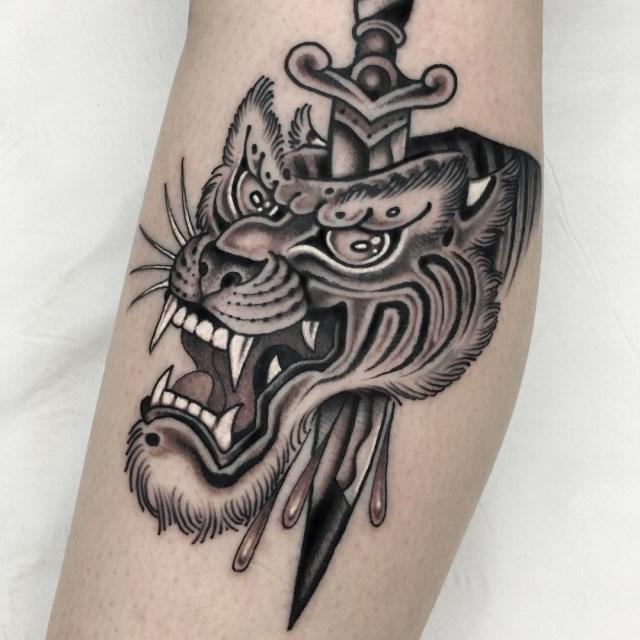 black and grey tiger tattoo 07