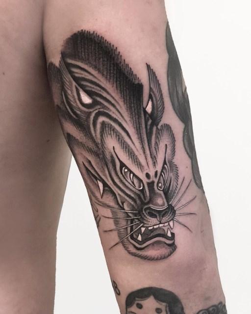 black and grey tiger tattoo 10